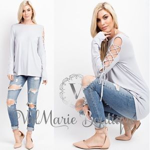 Gray Laceup sleeve top